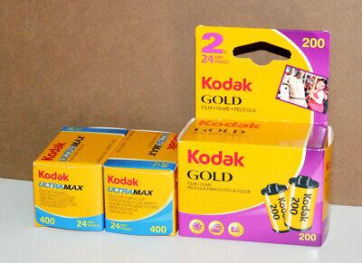 4 Pellicola 35mm Rullino fotografico Kodak Gold 200 Ultramax 400 asa 24 colore