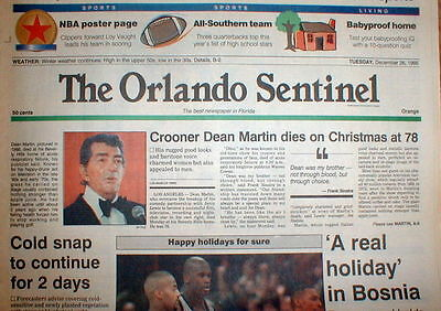 1995 Newspaper Singer Dean Martin Dead Former Partner Comedy Duo W  Jerry Lewis