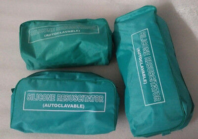 Brand New Ambu Bag Adult Child Infant Silicon Manual Resuscitator 3-cpr Kit