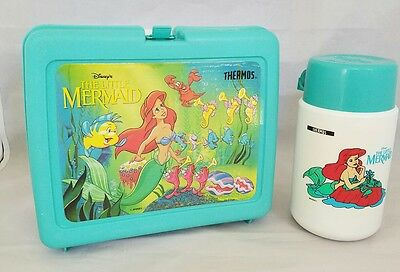 Vintage Disney's Little Mermaid Plastic Lunchbox WITH Ariel Thermos