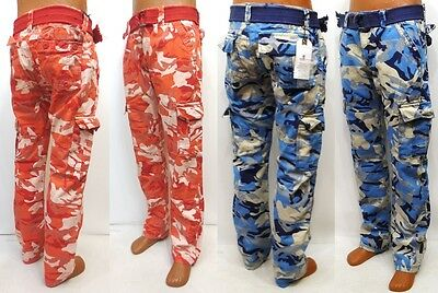 Men's IMPERIOUS blue red military combat cargo camo pants style CP01 with belt ()