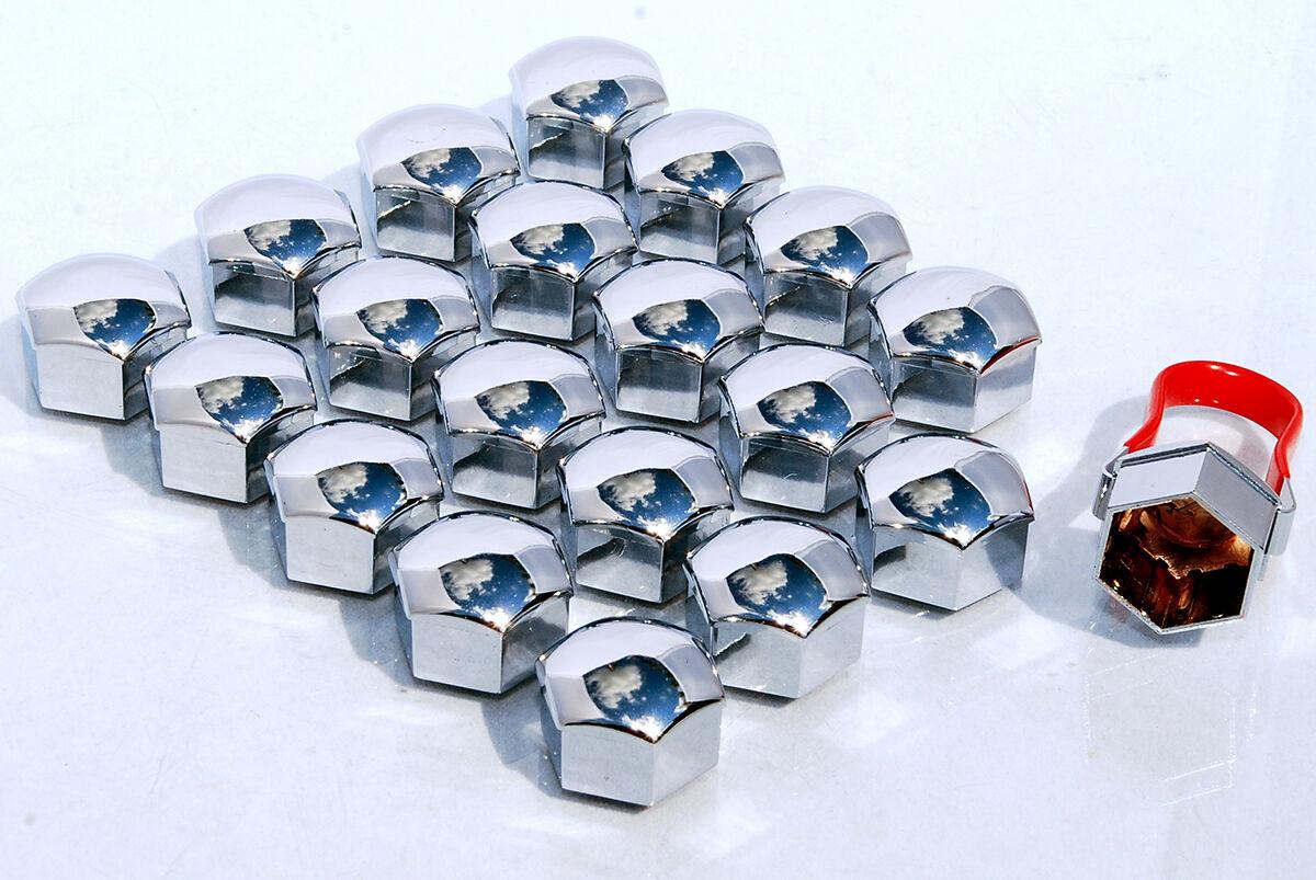 Pack De 20 Cromo Rueda de la aleación Pernos Lugs NUTS Tapas Cubre Hexagonal de 17mm Para Vw