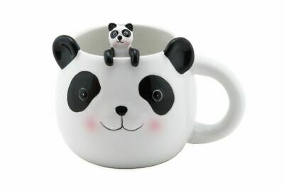 Cute Animal Novelty Ceramic Coffee Tea Mug w/ Matching Spoon 16 oz (Cute Panda)