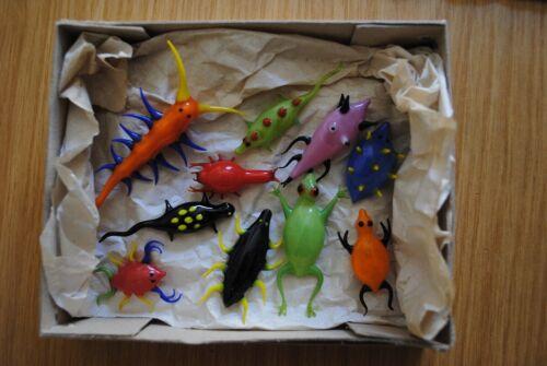 Box with 10 antique glass hollow blown Lauscha/Bimini sea animals