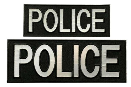 """Reflective Police Back,Front Panel Patch 2PC-""""Velcro Brand""""11.0 X 4.0-8.0 X 3.0"""
