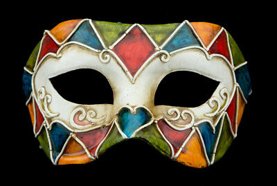 Mask from Venice Colombine Mosaic Antique Paper Chewed- 2163 -V39B