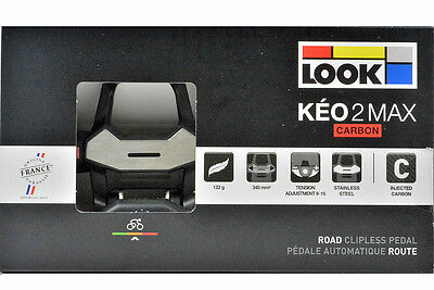 New 2017 Look Keo 2 Max Carbon Road Cycling Pedals   Gray Grip Cleats Bolts