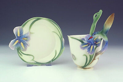 Vintage Franz Porcelain - Humming Bird Cabinet Cup, Saucer & Spoon Set - Boxed!