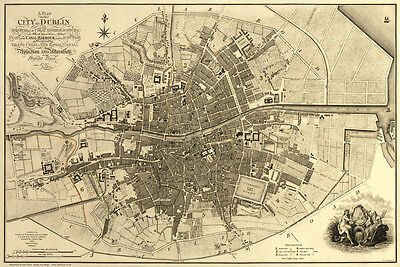 Old Map of Dublin, Ireland in 1797, plan by W Faden - repro, vintage, historical