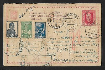 CZECHOSLOVAKIA PS CARD USED IN RUSSIA MIXED COVER 1939 SCARCE