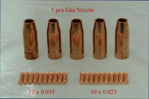 MTS-001, 5pcs Gas Nozzle, 20pcs 0.023 & 0.035 Tips MTS-205 185 165 Consumables