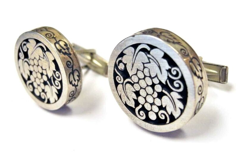 Vintage Harold FITHIAN Sterling GRAPE Cut Out Cufflinks MidCentury 1950s Grapes