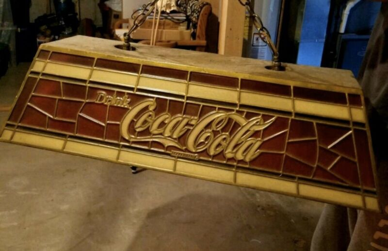 Vintage Coca Cola Billiard/Pool Table Light Tiffany Style Numbered 3641
