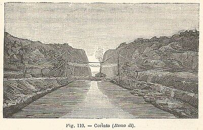 B1760 Istmo of Corinth - View - Incision Antique Of 1925 - Engraving