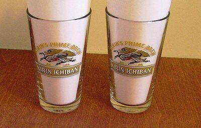 2 KIRIN ICHIBAN Beer Glasses 16 oz Prime Brew Japanese Beer Malt Draft Pint  New