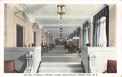 ATLANTIC CITY, NJ New Jersey   HOTEL DENNIS~Garden Lounge Interior   c1920's