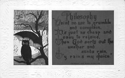 OWL UMBRELLA RAIN WISDOM POEM PHILOSOPHY EMBOSSED POSTCARD (c. 1910)](Owl Poem)