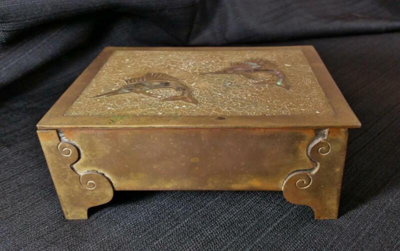 """Rare Bernice Goodspeed, Signed Brass Fish Box 6"""", Inlaid & Rosewood Lined, Taxco"""