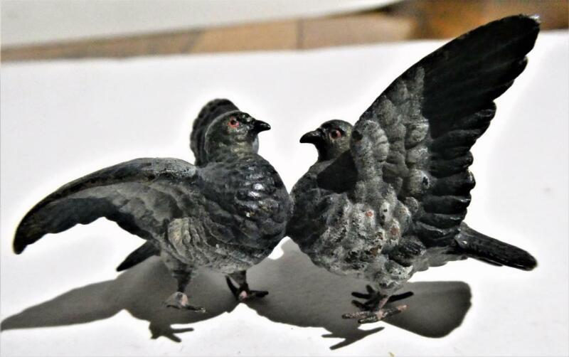 "Austrian Cold Painted ""Doves-Love Birds"" Bronze Sculpture-Figurine-Austria"