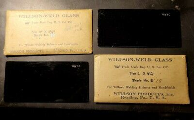 Vintage Nos Willson - Weld Glass Welding Lens 2 X 4 14 Shade 10 2 Piece