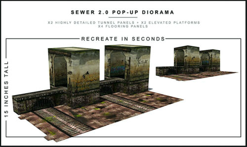 """Extreme-Sets Sewer 2.0 Pop-Up Diorama 1/12 Scale for 6""""– 7"""" Action Figures"""