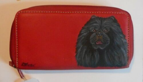 Black Chow Chow Dog Hand Painted Leather Wallet for Women