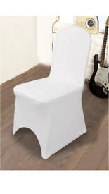 15 new white arched front chair covers in original packaging