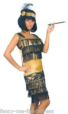 Damen Sexy Schwarz Gold 1920er Jahre Flapper Gatsby Kostüm Kleid Outfit - 1920 Kostüm Weiblich