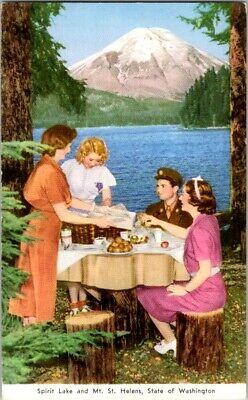 Vintage Postcard Spirit Lake & Mt. St. Helens Washington State              B-46