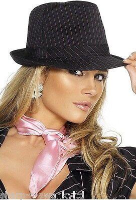 Ladies Sexy Black / Pink Pinstripe Trilby Gangster Moll Fancy Dress Costume Hat