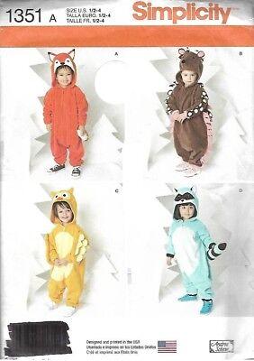Toddler Animal Costume Patterns Fox Hedgehog Owl Raccoon #1351 Size 1/2-4 Uncut - Hedgehog Costume Pattern