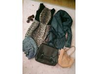 Women's coat, dress, handbags, sunglasses, scarf