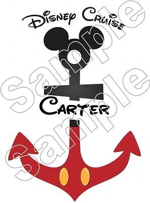 Personalized Disney Cruise ANCHOR Mickey Iron On T Shirt Fabric Transfer -