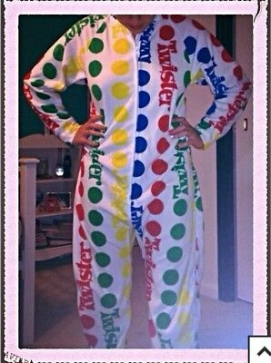 Hasbro Twister Game Footed Pajamas Colorful Dots Costume Rare HTF S or M LASTONE - Twister Game Costume