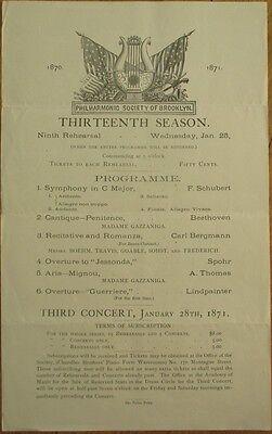 Orchestra 1871 Program: Philharmonic Society of Brooklyn, NY - 1/28/1871