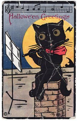 HALLOWEEN POSTCARD, H. M. ROSE - BLACK CAT WITH RED BOW PLAYING THE FLUTE, 1913