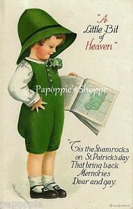 St-Patricks-Day-Fabric-Block-Vintage-Postcard-on-Fabric-Clapsaddle-Irish-Boy