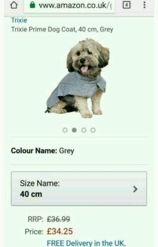 Trixie 40cm grey dog coat. Waterproof,fleece lined and adjustable. Brand new jacket