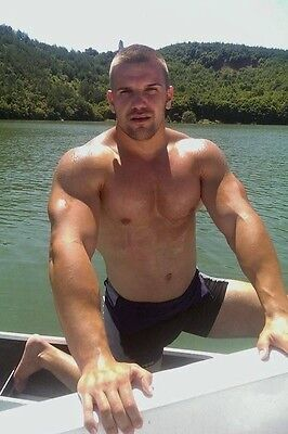 Shirtless Male Muscular Beefcake Facial Hair Beefy Guy Boating PHOTO 4X6 C556