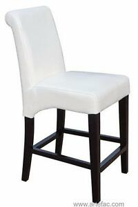 on SALE RollBack Leather Counter Stool in Off-White on Clearance