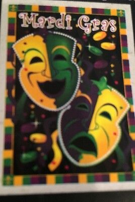 Large Mardi Gras Mask (Large Mardi Gras Flag with Mask Beads Coins 28