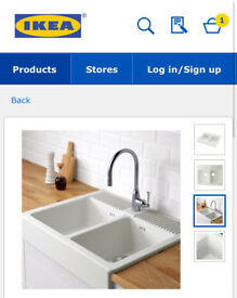 White double bowl IKEA kitchen sink domsjo RRP £170!
