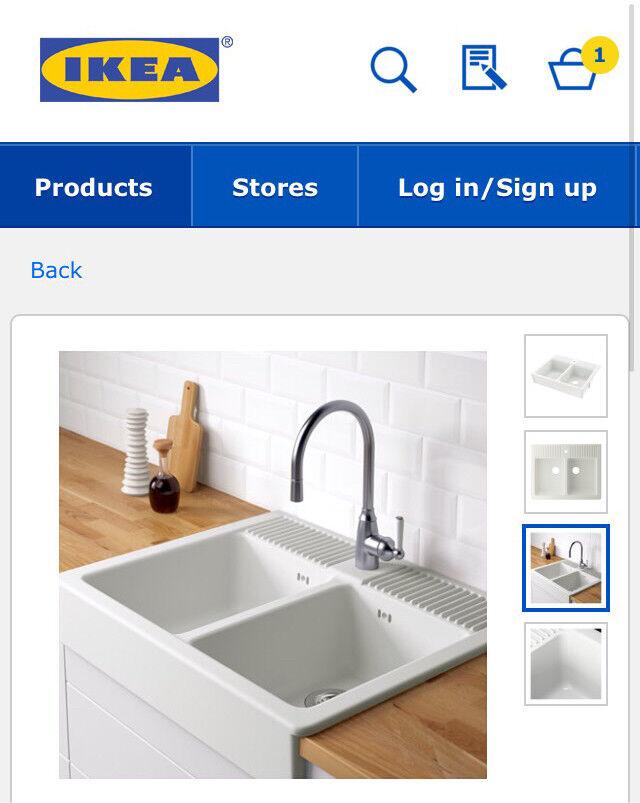 White double bowl IKEA kitchen sink domsjo RRP £170!