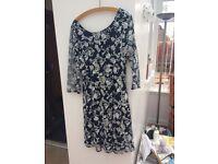 Midnight blue & silver Monsoon dress, size 14