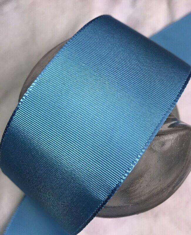"10 yard 1 1/2"" wide vintage roll grosgrain bright blue ribbon hat dress rayon 86"