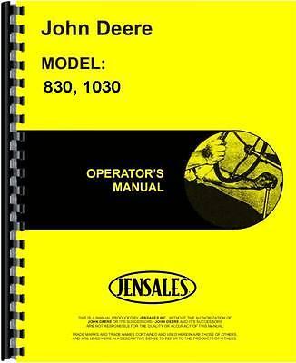 John Deere 1030 830 Utility Diesel Tractor Operators Manual Jd-o-oml29383