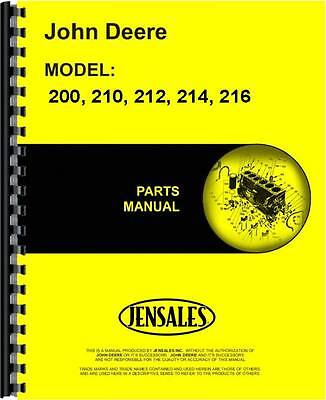John Deere 200 210 212 214 216 Lawn Garden Tractor Parts Manual Jd-p-pc1473