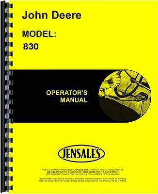 John Deere 830 Diesel With Elec Start Tractor Operators Manual Jd-o-omr20820