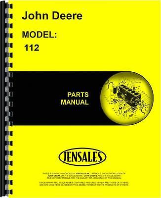 John Deere 112 Lawn Garden Tractor Parts Manual 250001 And Up Jd-p-pc1277