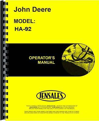 John Deere Ha-92 Power Unit Operators Manual